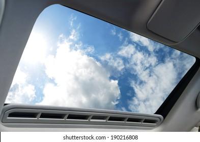 Automotive sunroof closeup
