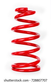 Automotive suspension coil spring on the white background