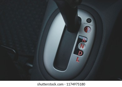 Automotive transmission gearbox ,Car interior ,  gear parked .