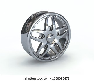 Automotive wheel disc isolated on white. Digital illustration. 3D illustration.