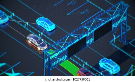 autonome transportation system concept, smart city, Internet of things, vehicle to vehicle, vehicle to infrastructure, vehicle to pedestrian, abstract image visual 3d illustration