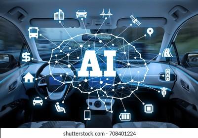 autonomous car with AI(Artificial Intelligence) concept. driverless car.