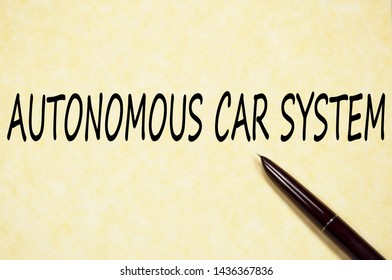 Autonomous car system text write on paper