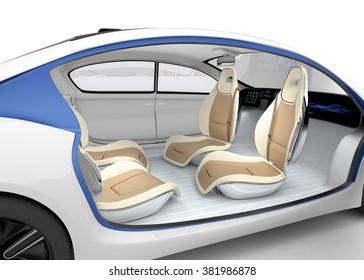 Autonomous car's interior concept. The car offer folding steering wheel, rotatable passenger seat. Original design.