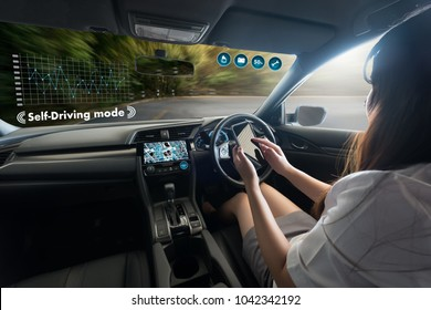 autonomous driving car and digital speedometer technology image visual
