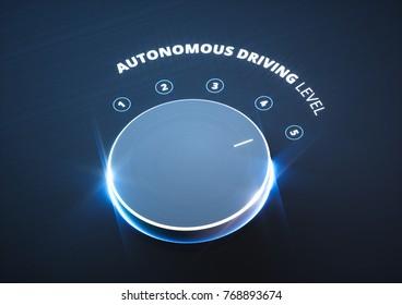 Autonomous driving level concept. 3d rendering.