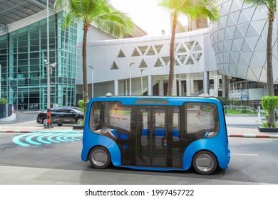 Autonomous electric bus self driving on street, Smart vehicle technology concept, 3d render