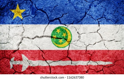 Autonomous Region in Muslim Mindanao,  autonomous region of the Philippines, flag on dry earth ground texture background
