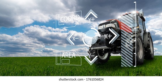 Autonomous remote controlled agricultural tractor on the field. Digital transformation in agriculture