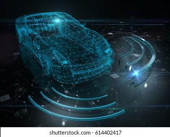 Autonomous self drive vehicle - 3D rendering