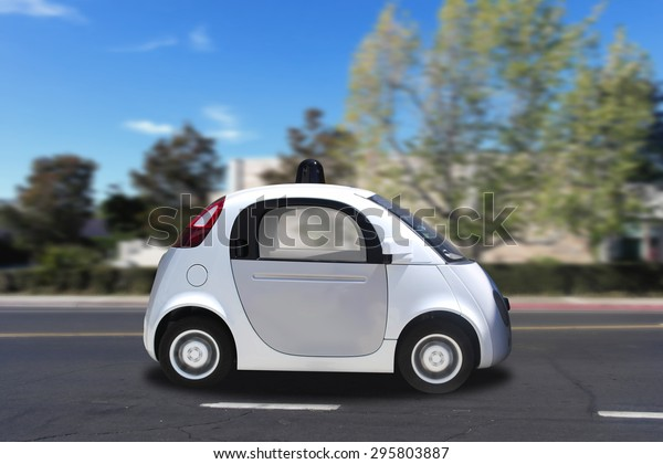 Autonomous self-driving driverless (drive) vehicle driving on the road
