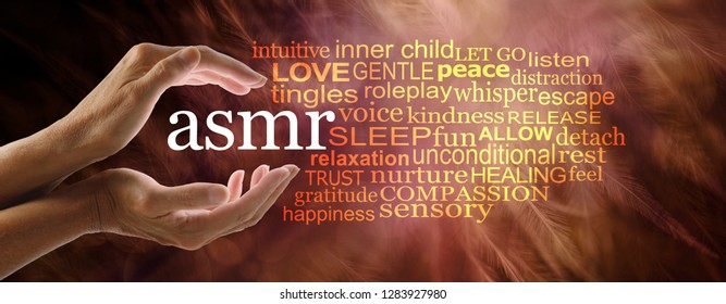 Autonomous sensory meridian response word cloud - female hands cupped around the acronym ASMR on a warm reddish feathery background with a relevant word cloud