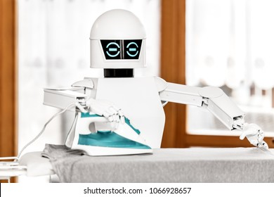 autonomous service robot is ironing some clothes. aal Cyborg is supporting by doing some work in the household