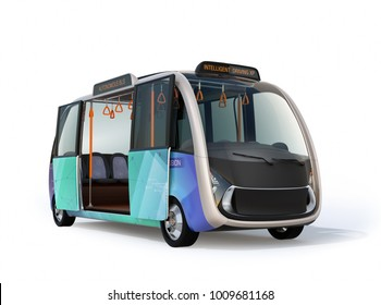 Autonomous shuttle bus with open door isolated on white background. 3D rendering image.