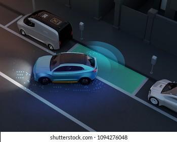 Autonomous SUV is parallel parking into parking lot at roadside. Night scene. Intelligent Parking Assist System concept. 3D rendering image.