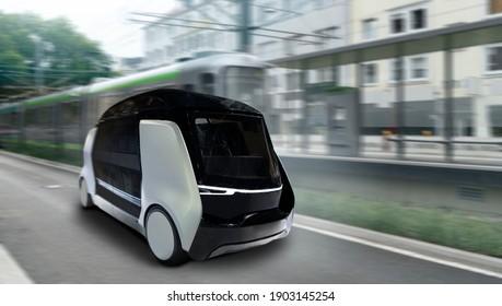 Autonome Taxi auf einer Stadtstraße. Selbstfahrer-Shuttle