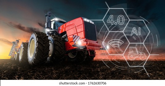 Autonomous tractor with artificial intelligence. Digitalization and digital transformation in agriculture 4.0. Smart farming