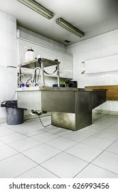 Autopsy room, detail of a hospital, human study, university