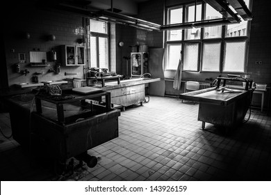 an autopsy room interior