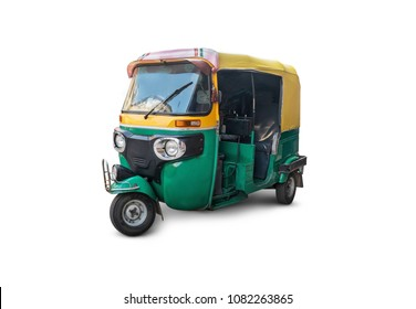 autorickshaw isolated on white background. Traditional vintage   Indian public transport. Tricycle vintage retro motorcycle 50-60 years of the 20th century