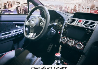 Autoshow Praha, Czech Republic - September 24, 2016: New model of Subaru WRX STI - sports car legend revival on display on international Prague exhibition - interior closeup
