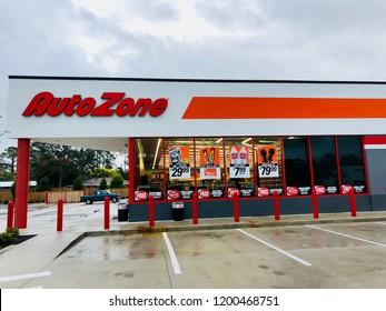AutoZone store front. Saint Augustine, Florida USA. October 9, 2018