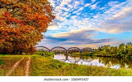 Autum rural river landscape. River bridge silhouette on autumn rural scene