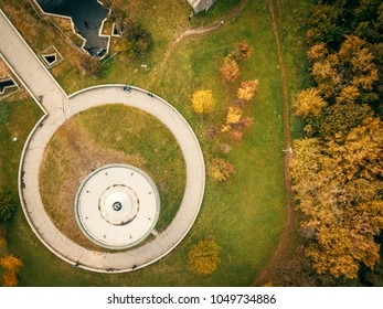 Autumn aerial drone nature landcape with trees and roads