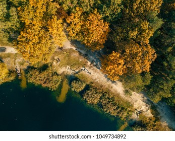 Autumn aerial drone nature landcape with trees and lake
