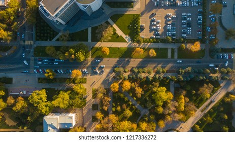 Autumn aerial top down view of Park area near Monument to Catherine II - a monument in honor of Empress Catherine II in Krasnodar city, Russia.