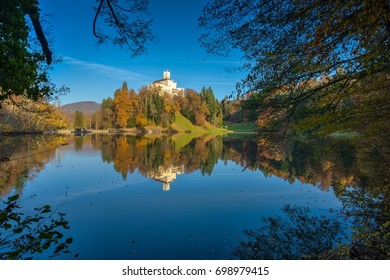 Autumn afternoon at Trakoscan Castle by the Lake