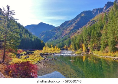 Autumn along the Wenatchee River near Leavenworth, Washington and the Washington state Cascade mountains.