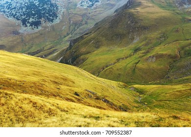 Autumn alpine landscape in the Carpathians, Romania, Europe