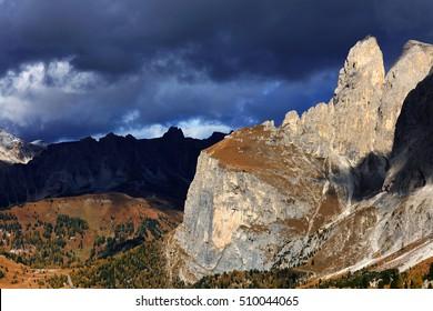 Autumn alpine landscape in the Dolomites, Italy, Europe