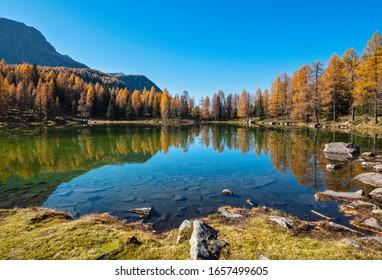 Herbstalpiner Bergsee bei San Pellegrino Pass, Trentino, Dolomiten Alpen, Italien. Malerische Reisen, saisonale und Natur Schönheitsszene.