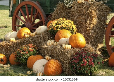 Autumn Antique Wagon and Pumpkin Display