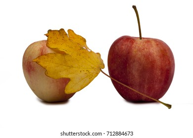 Autumn, apples and leaves