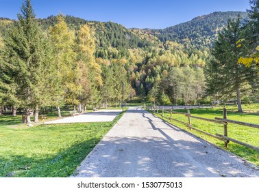 Autumn arrives in the French Alpine village of Les Contamines-Montjoie
