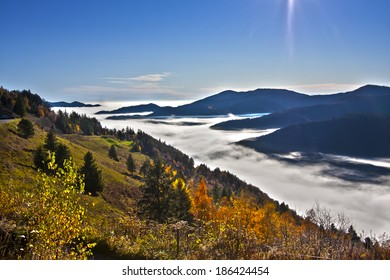 Autumn atmosphere in middle range mountain in Vosges north east France