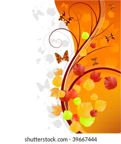 autumn background with butterflies (raster image, vector available in my portfolio)