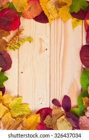 Autumn background with colored leaves on wooden board with copy space