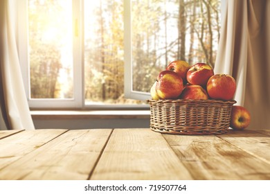 autumn background of desk and window