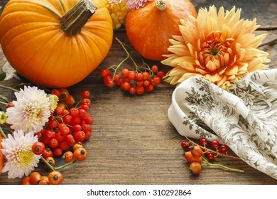 Autumn background with fruits and flowers, copy space