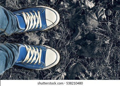 Autumn background. Legs in blue gym shoes standing on colorful fallen leaves. Free space for text. Concept: making important decisions, meditation