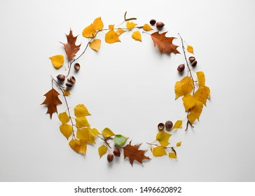 Autumn background with natural decor. Round frame with fall foliage and herbarium. Copy space for seasonal promotions and discounts