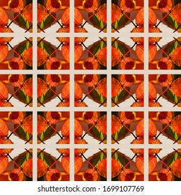 Autumn background with orange leaves, made of squares, useful for packaging, wallpaper, cards or envelopes.