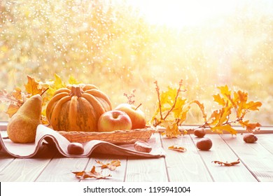Autumn background with pumpkins and dry leaves on a window board on a rainy day, toned image