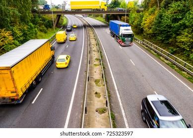 Autumn Background of UK Motorway Road Yellow concept