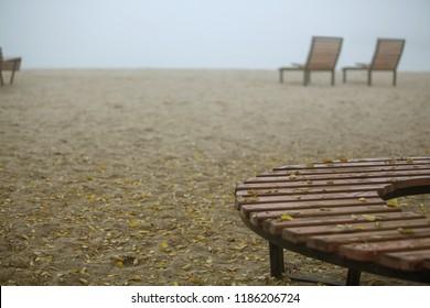 Autumn beach. Beautiful autumn scene with sea, sand and autumn colors