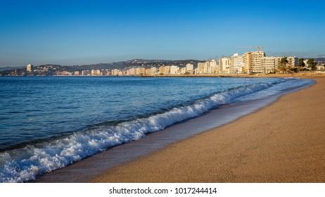 Autumn in the beach in Spain, Costa Brava, village Sant Antoni de Calonge
